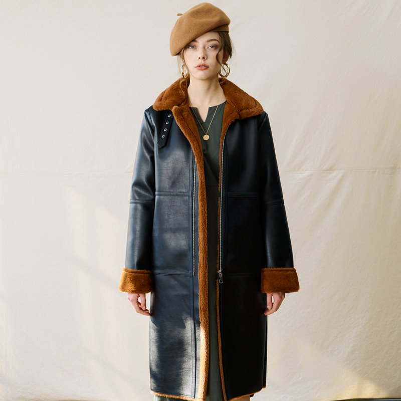 LONG MUSTANG COAT BROWN