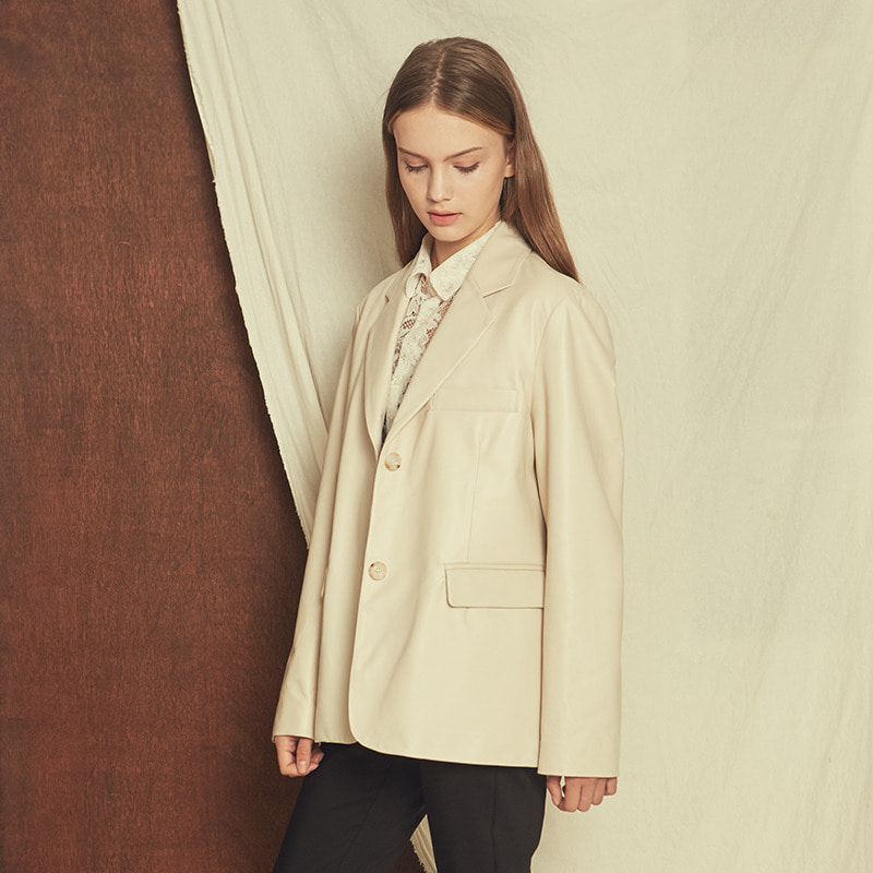 TUBERTON CARA LEATHER BLAZER IVORY